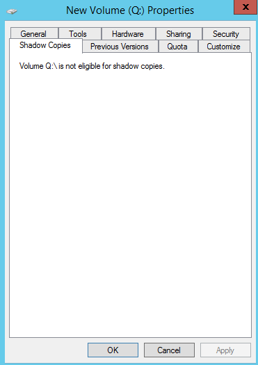 Not eligible for Shadow copy